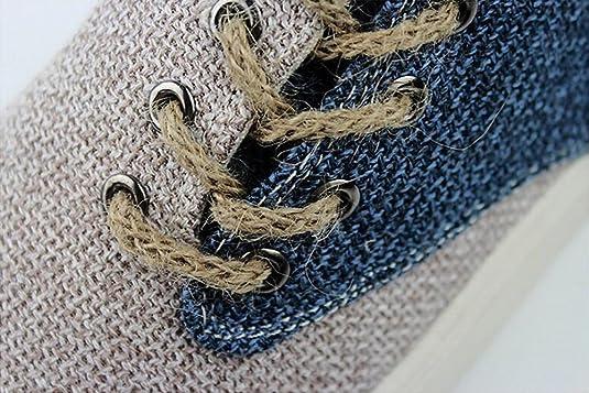 Barco Zapatos Holgazanes Primavera Verano japonés Estilo Casual De los hombres Moda Lino Zapatos (EUR40: apropiado para 39, Marrón)