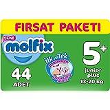 Molfix 3D Bebek Bezi Junior Plus 5+ Beden, Fırsat Paketi 44 Adet