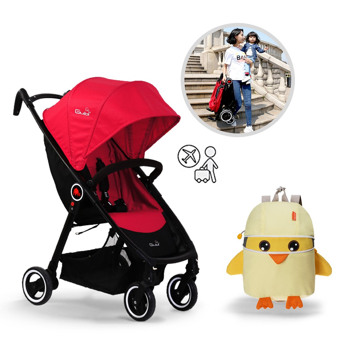 Bebamour Baby Stroller Travel System Convenience Stroller with 5-Point Safety System for Newborn and Toddler (Red)