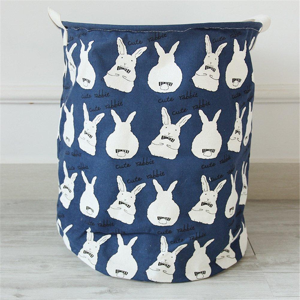 Yiliag Lovely Animals Pattern Laundry Basket Linen Cotton Laundry Hamper Toy Storage Hamper-Blue/Rabbit