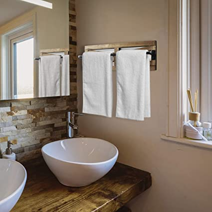 Jourad Wooden Towel Hook Self Adhesive Towel Wall Mounted Sundries Storage Hanger Rack Home Decorations Bathroom Kitchen Organizer Brown Creative Rustic Towel Set