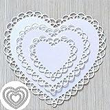 4pcs/Set Lace Heart Shape Metal Die Cuts, Wedding Invitation Card Love Flower Cutting Dies Cut Stencils for DIY Scrapbooking