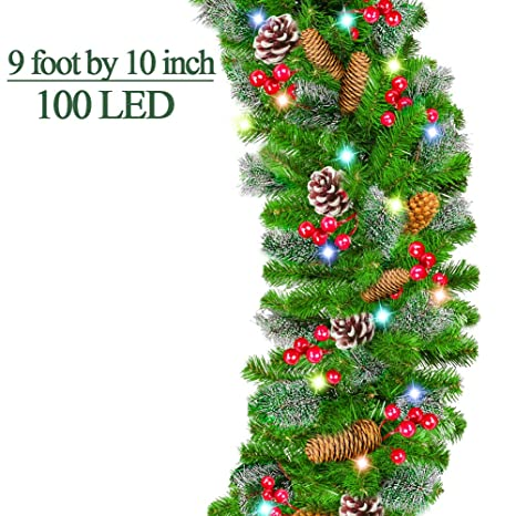 9 Foot By 10 Inch Christmas Garland With 100 Led Lights Battery Operated Christmas Garland Wreath With Snow Flocked 220 Branches 18 Pine Cone 90
