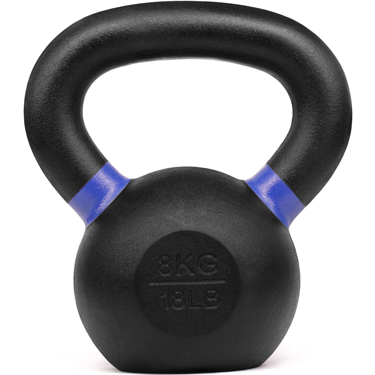 Yes4All Powder Coated Kettlebell Weights with Wide Handles & Flat Bottoms - 8kg/18lbs Cast Iron Kettlebells for Strength, Conditioning & Cross-Training
