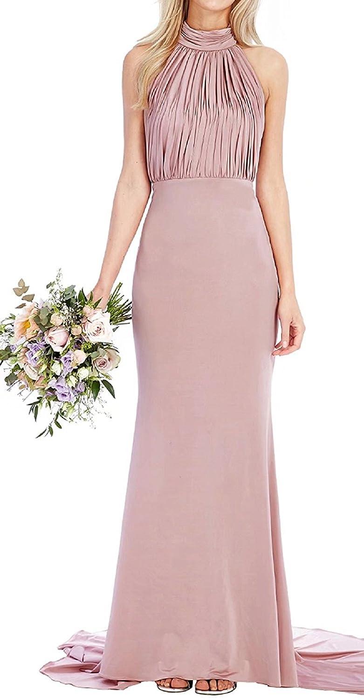 Pink Bridesmaid Dresses Long Halter Prom Wedding Bridal Maxi Dress