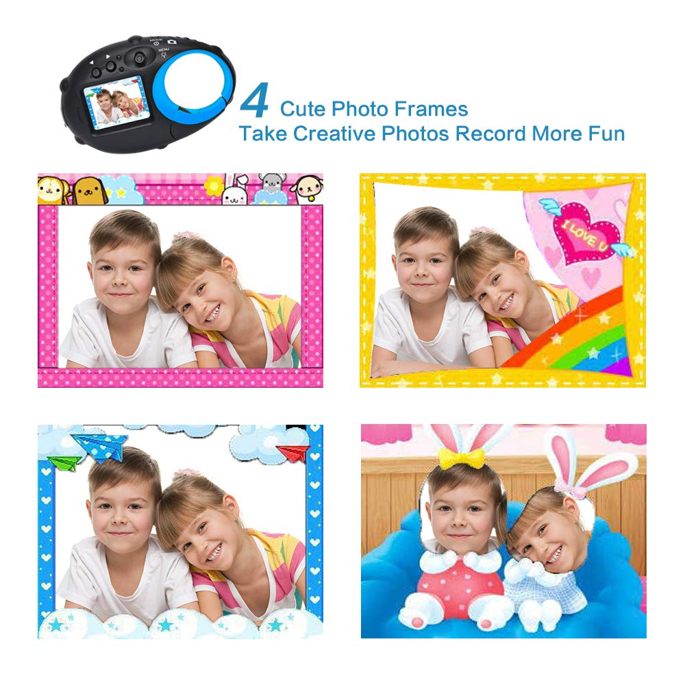ISHARE Kids Camera Cute Camera 12MP 4× Digital Zoom Digital Camera with Video for Girls and Boys,Blue(Kids Camera with Photo Frame) by ISHARE (Image #3)