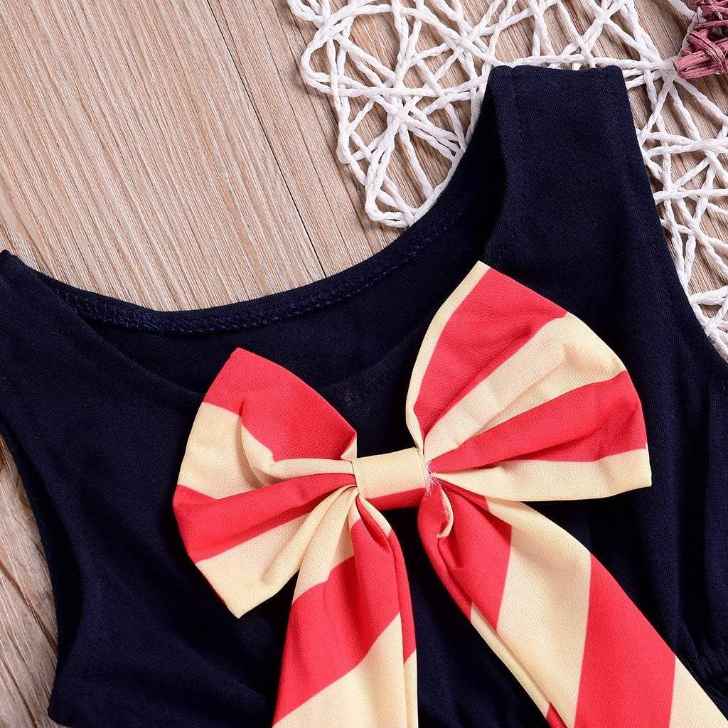 KONFA Baby Girls Sundress for Todder Infant Baby Girl Striped Bow-Knot Dresses Ruffled Skirt 0-3 Years