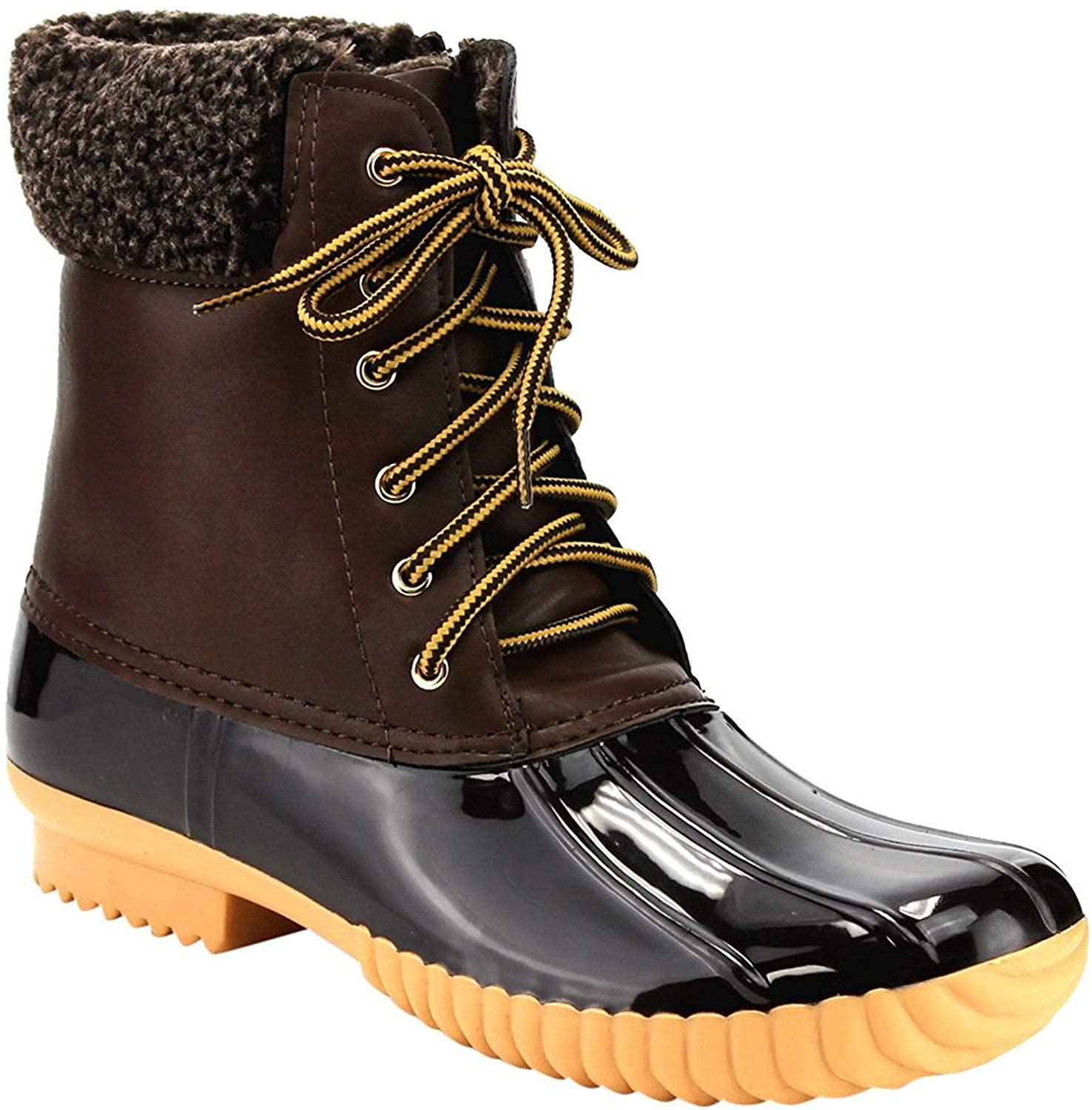 Brown-2 Women's Waterproof Rain Booties Duck Padded Mud Rubber Snow Faux Fur Lace Up Ankle Boots
