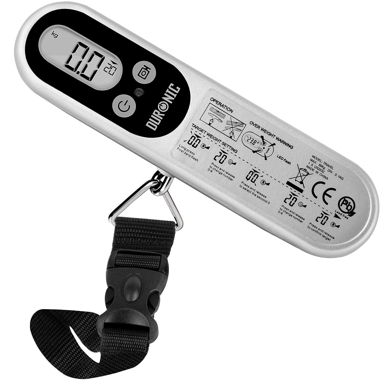 Duronic LS1014 Báscula de Equipaje Ergonómica Digital LCD para Maletas, Mochila de Viaje, Pesca, hasta 50 Kg, Color Plateado: Amazon.es: Equipaje