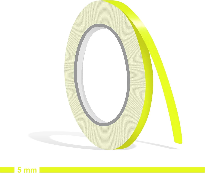 Siviwonder Zierstreifen Neon Gelb Neongelb Leuchtend Glanz In 5 Mm Breite Und 10 M Länge Aufkleber Folie Für Auto Boot Jetski Modellbau Klebeband Dekorstreifen Fluoreszierend Grell Leuchtgelb Auto