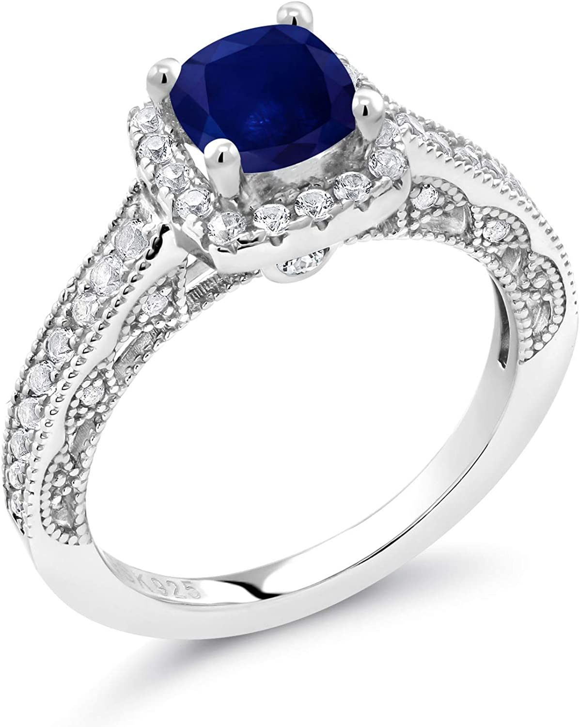 Gem Stone King 925 Sterling Silver Blue Sapphire and White Created Sapphire Women Engagement Ring (1.88 Ct Cushion, Available in size 5, 6, 7, 8, 9)