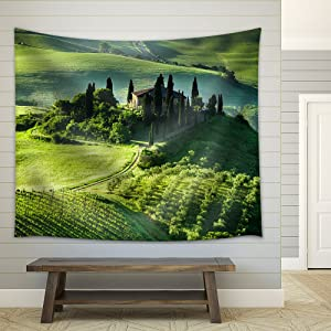wall26 - Beautiful Sunrise Over The Valley of Olive Groves and Vines - Fabric Wall Tapestry Home Decor - 68x80 inches
