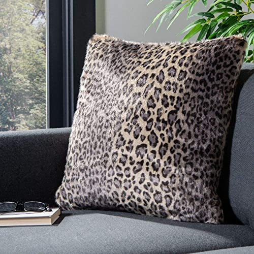 Safavieh Collection Faux Black 20 Throw Pillow, Leopard