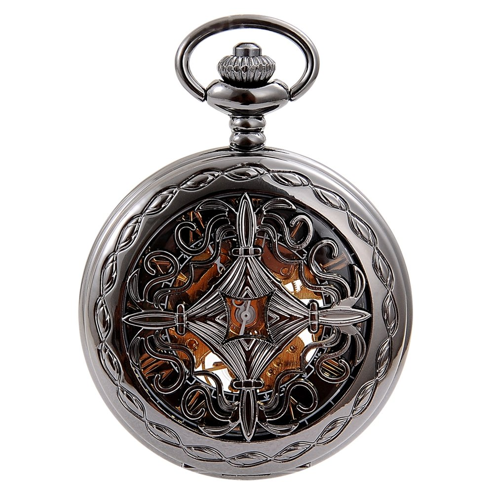 Antique Unisex Engraved Black Automatic Mechanical Pocket Watch