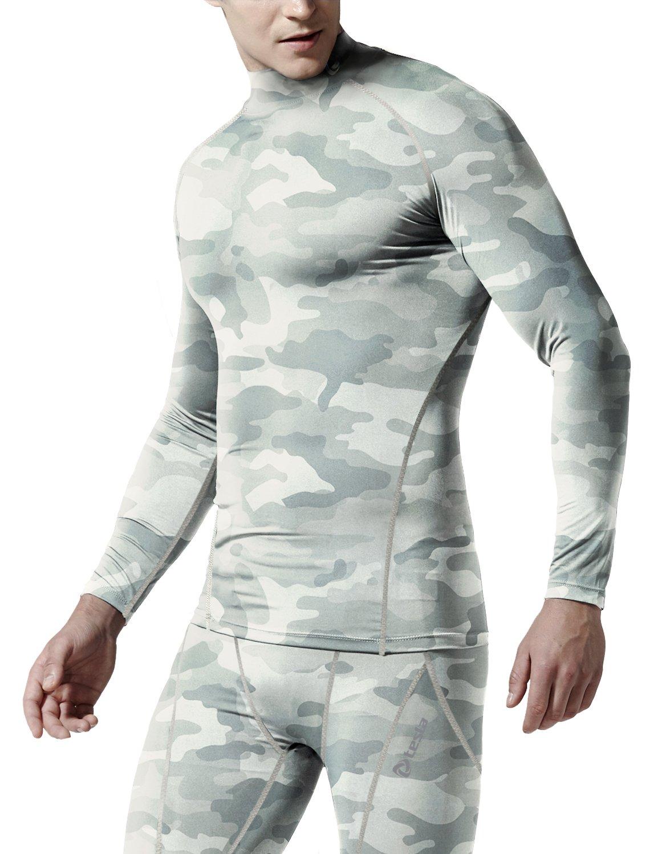 (テスラ)TESLA 長袖 ハイネック スポーツシャツ [UVカット吸汗速乾] コンプレッションウェア パワーストレッチ アンダーウェア T11 / MUT72 B01N130AVM XXL T11-CLGZ(ウッドランドライトグレーカモ) T11-CLGZ(ウッドランドライトグレーカモ) XXL