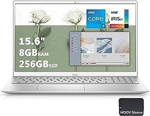 2021 Dell Inspiron 15 5000 15.6 inch FHD Laptop, 11th Gen Intel Quad-Core i5-1135G7, 8GB DDR4 RAM, 256GB PCIE SSD, Intel Iris Xe Graphics, Fingerprint, WiFi6, Woov Sleeve-Windows 10(Latest Model)