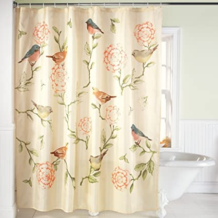 Amazon.com: Collections Etc Birds and Blooms Floral Shower Curtain ...