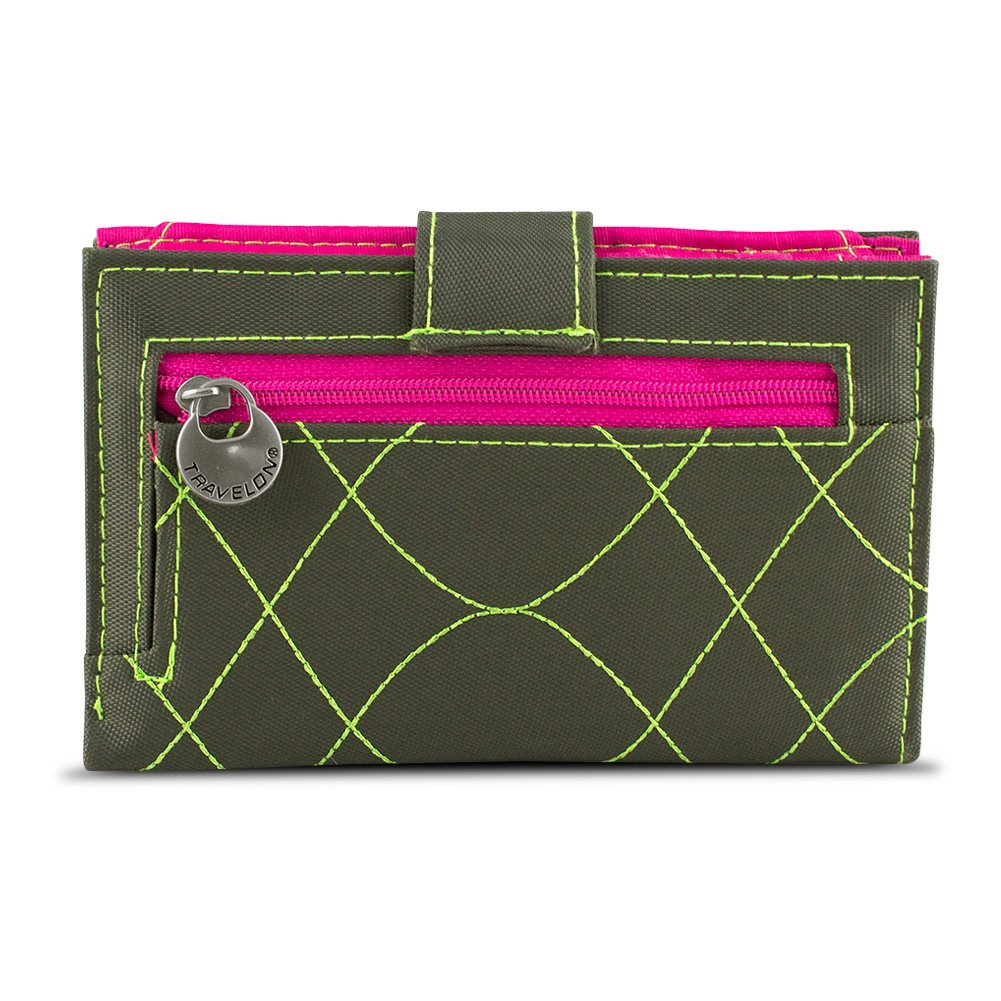 Travelon SafeID Embroidered Tri-Fold RFID Wallet Olive//Berry