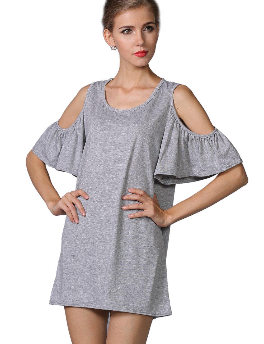 YACUN Women's Off Shoulder Top Shirt Grey 3XL