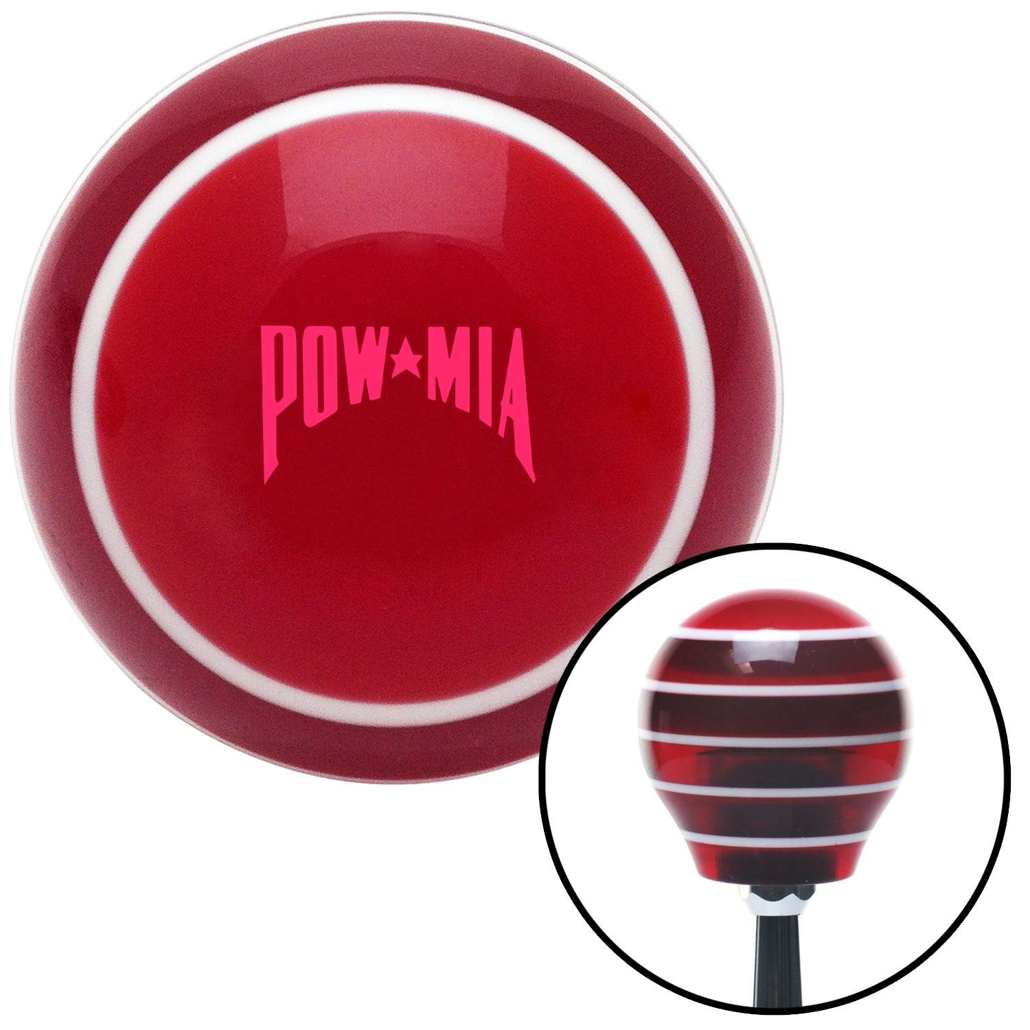 Pink Pow Mia Text Red Stripe with M16 x 1.5 Insert American Shifter 274240 Shift Knob