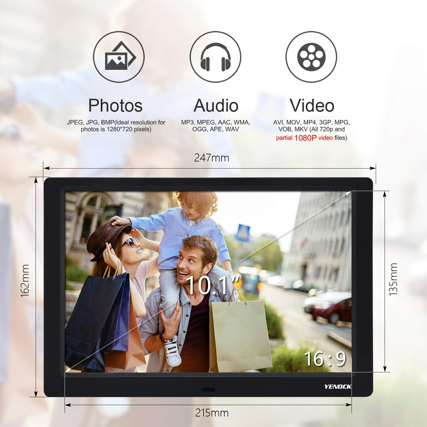 YENOCK Digital Picture Frame, 10.1 Inch IPS Screen Digital Photo Frame 1280×800 Pixels High Resolution Photo/Music/HD Video Player/Calendar/Alarm Auto On/Off Advertising Player with Remote Control by YENOCK (Image #4)