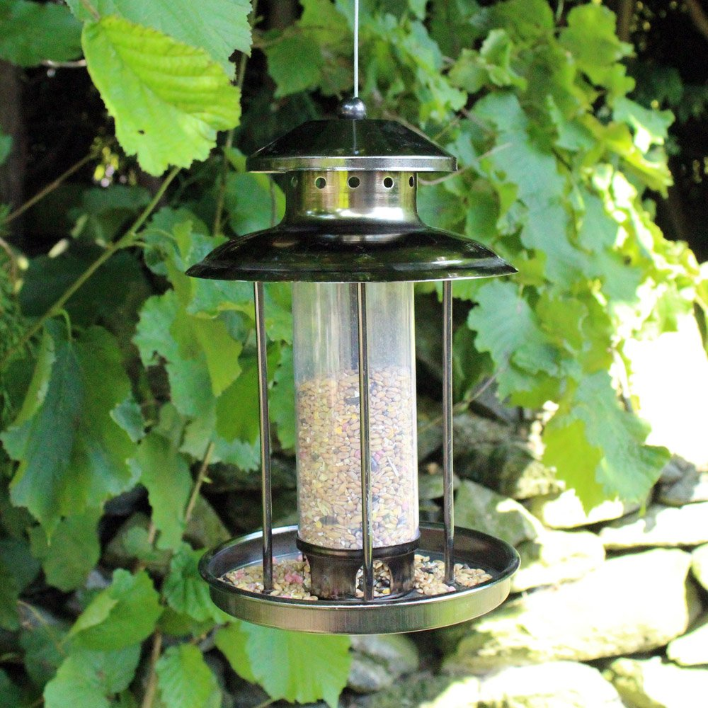 Happy Beaks Kingfisher Window Bird Feeder Niger Nuts & Seed Feeder Tube with Food Tray for Small Birds