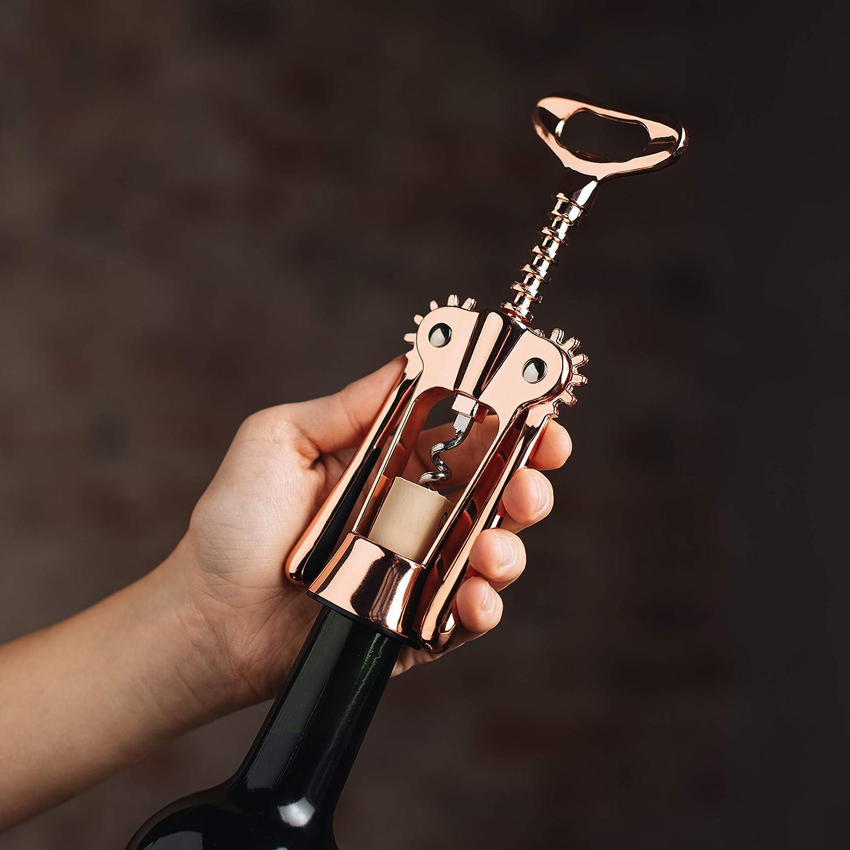 apribottiglie in Acciaio Inox dal Design Moderno Mr Argento Ollie Elegante cavatappi apribottiglie per Vino e Prosecco con Sacchetto di Lino Idea Regalo Speciale
