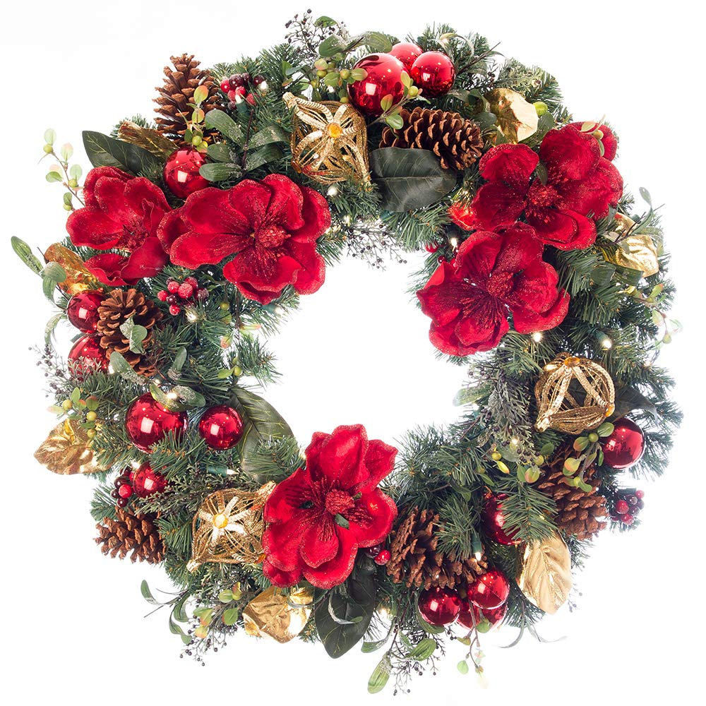 [30 Inch Artificial Christmas Wreath] - Red Magnolia Collection - Red and Gold Decoration - Pre Lit with 50 Warm Clear Colored LED Mini Lights - Includes Remote Controlled Battery Pack with Timer