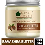 Bliss of Earth 100% Pure Organic Ivory Shea Butter | Raw | Unrefined | African | 100GM | Great For Face, Skin, Body, Lips, DIY products|