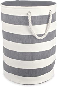 DII Woven Paper Collapsible Laundry Hamper/Storage Basket, 20x15x15, Round, Gray Stripe
