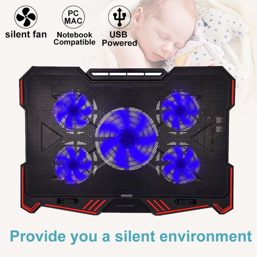 Laptop Cooling Pad BUJIAN 5 Ultra Quiet Fans and Red Led Lights with 13 Wind Speed (2600-5000RPM) and Ultra-Slim and Skid Proof Design for 12-15.6 Inch Laptop (S-X5) by BUJIAN (Image #5)