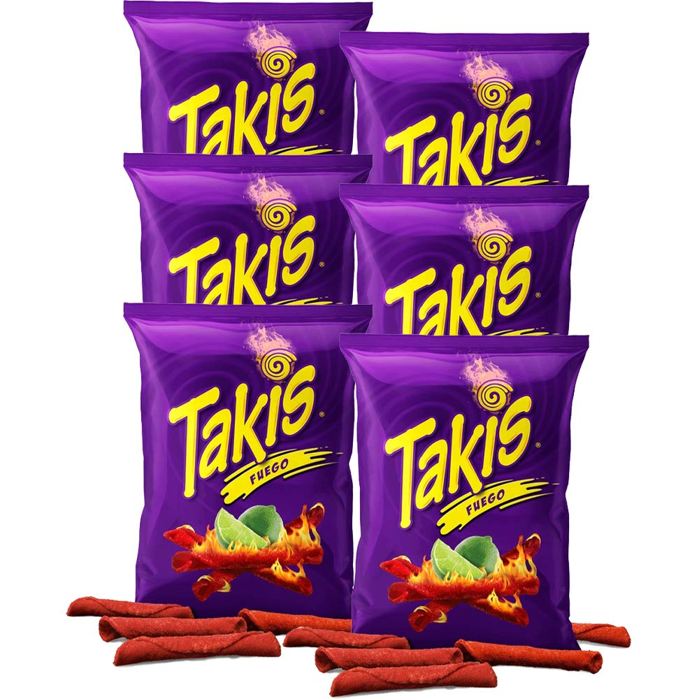 Takis Fuego Hot Chili Pepper & Lime Tortilla Chips, 4oz Bag (6-Pack)