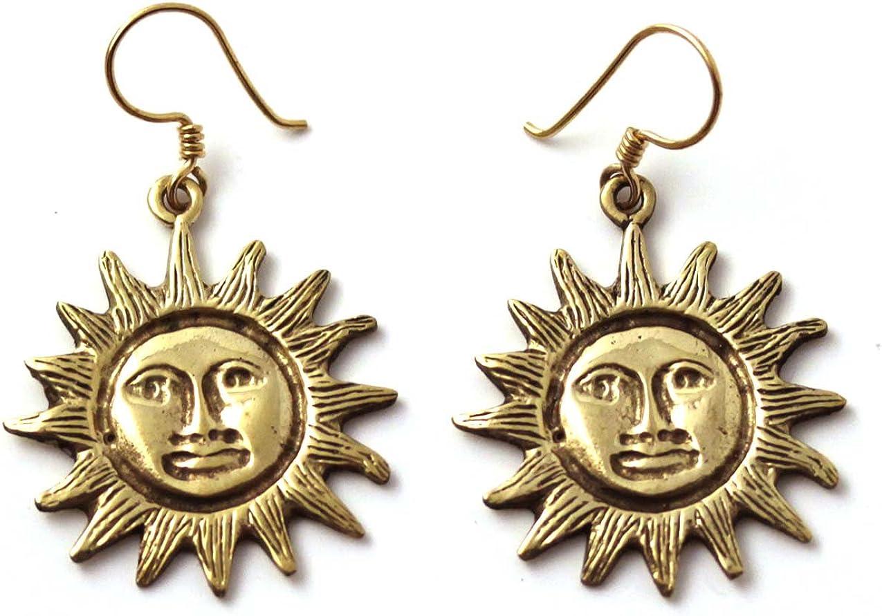 LynnAround Bronze Bohemian Hippie Boho Sun Drop Dangle Earrings Fish Hook Charm Vintage Thailand Made Jewelry