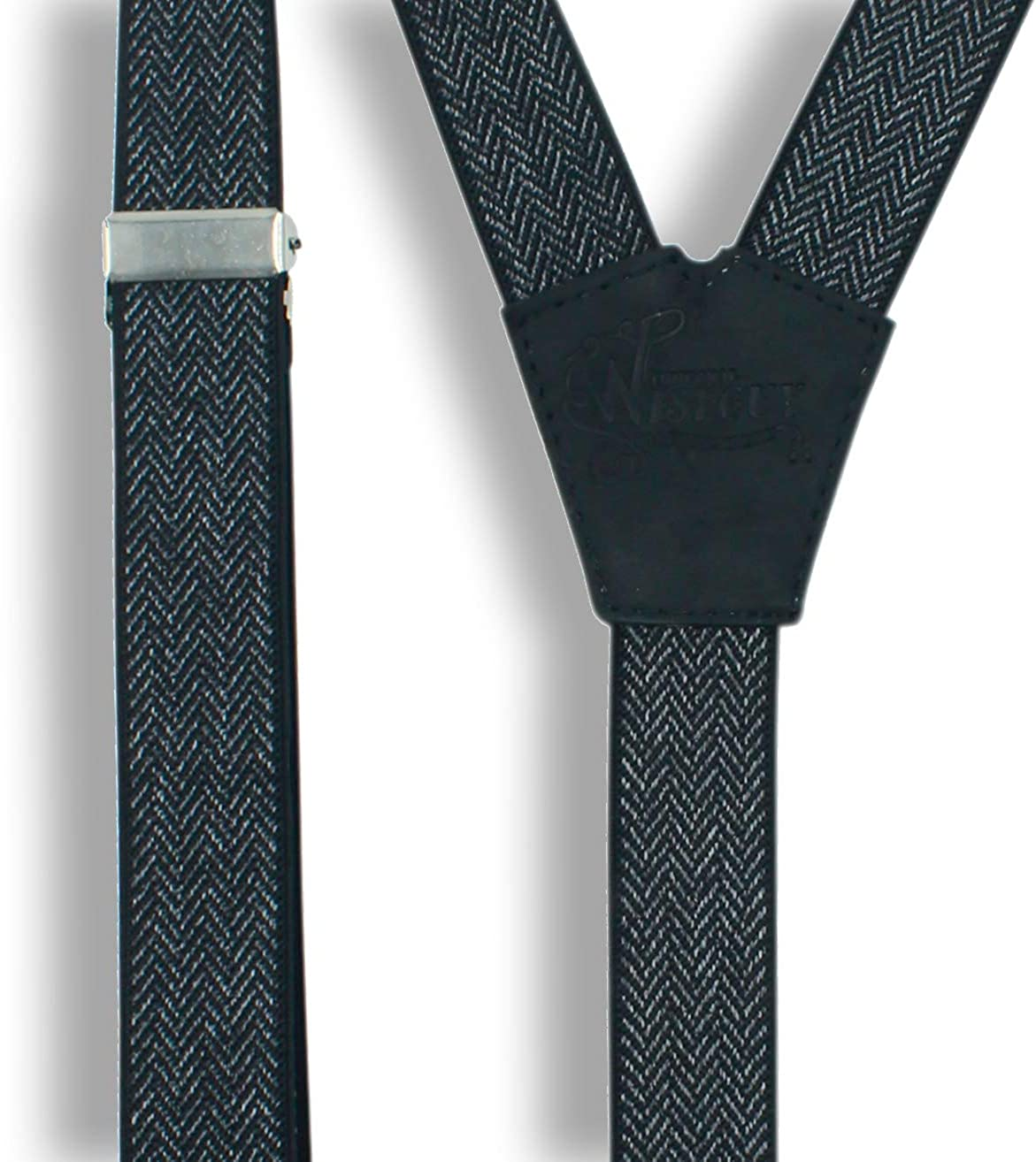 Wiseguy Herringbone Black Handmade Suspenders 1 Inch wide woven Elastic fabric for Men with black leather parts