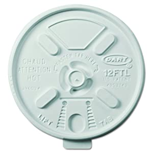 Dart 12FTL Vented Foam Lids for 10-14 oz Foam Cups, Lift n' Lock Lid