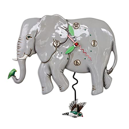 Allen Designs Elephante Whimsical Elephant Pendulum Wall Clock