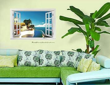 ufengke® Finestra Vista Paesaggio Mediterraneo Adesivi Murali ...