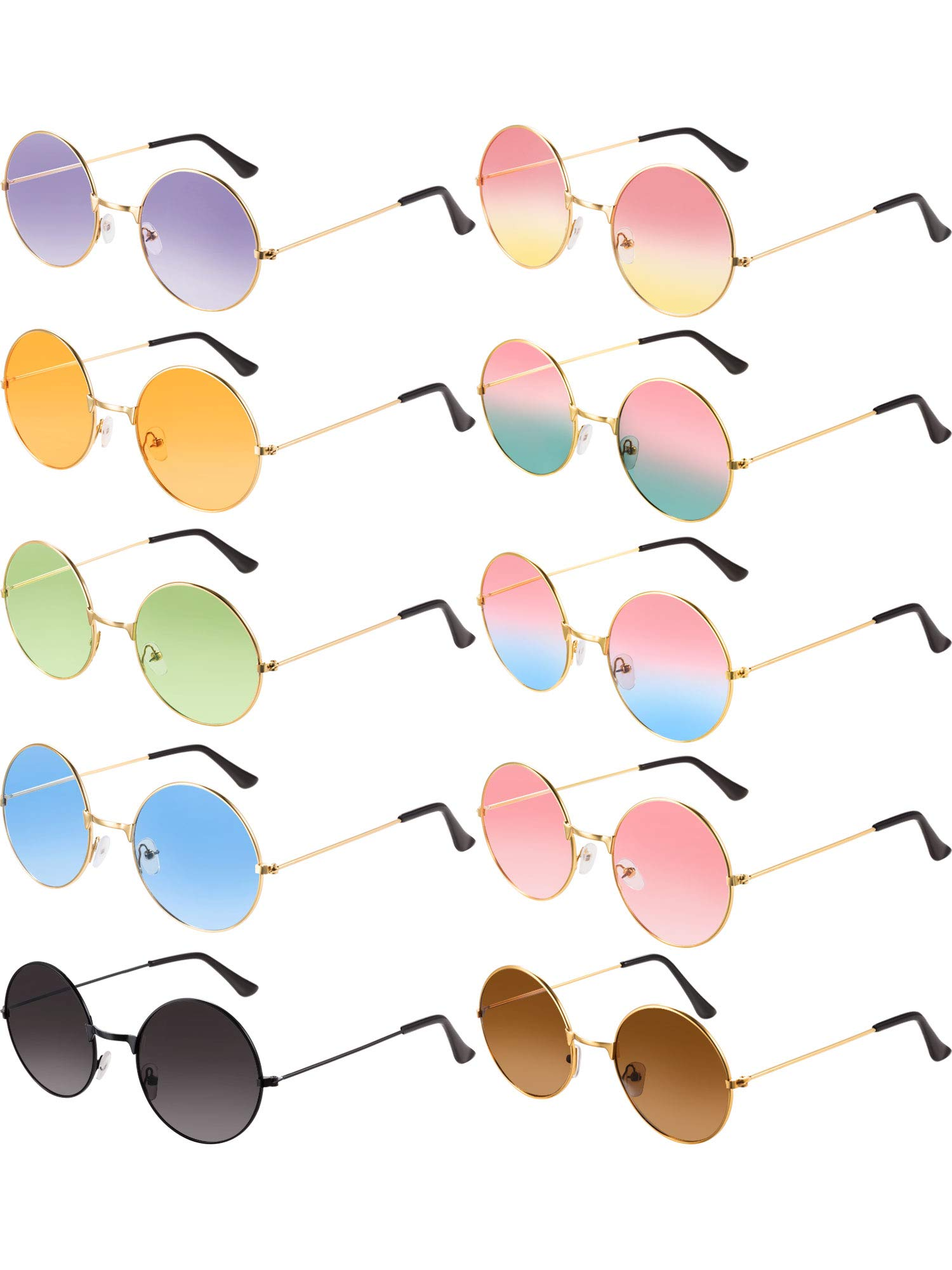 Blulu 10 Pairs Round Hippie Sunglasses John 60's Style Circle Colored Glasses (Gold Frame 2) by Blulu