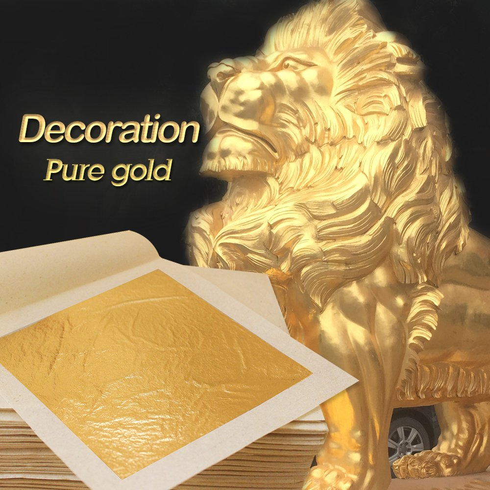 Edible 24K Gold Leaf Sheets 100 pcs 4.33 x 4.33 cm Pure Genuine Facial Edible Gold Leaf for Cooking, Cakes & Chocolates, Decoration, Health & Spa (100 Sheets) by KINNO (Image #4)