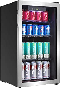 Beverage Refrigerator and Cooler, Holds up to 118-Can Mini Fridge with Adjustable Shelves, Stainless Steel Frame & Glass Door with Handle, Best for Home or Office,UL Listed