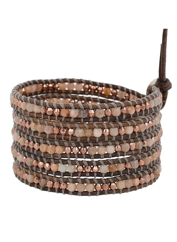Chan Luu Sunstone Mix of Semi Precious Stones Leather Taupe/Grey Wrap Bracelet
