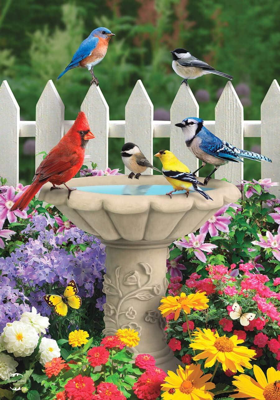 Briarwood Lane Spring Garden Friends Garden Flag Birds Birdbath Floral 12.5