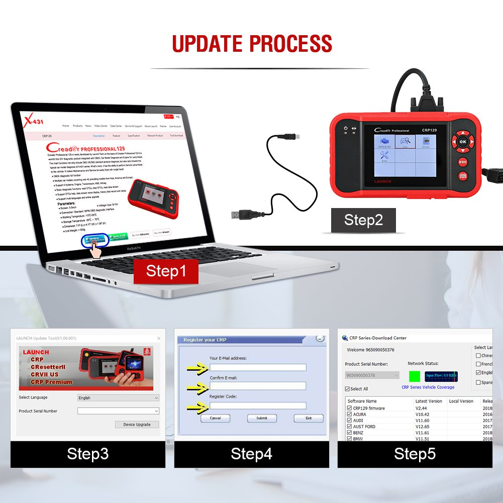 LAUNCH CRP129 OBD2 Scanner for ENG/at/ABS/SRS EPB SAS Oil Service Light Resets OBDII EOBD Auto Engine Code Reader Diagnostic Scan Tool by LAUNCH (Image #7)