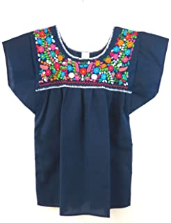 Plus Size 2 XL Embroidered Mexican Peasant Blouse (Black) at Amazon ...