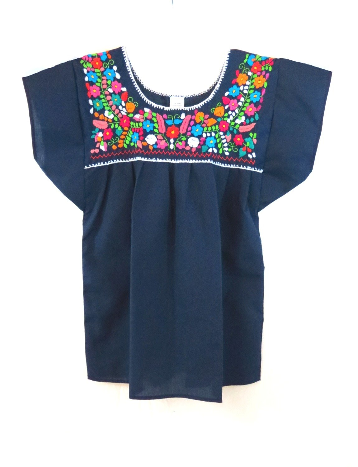 Women's Traditional Navy Blue Mexican Puebla Blouse - DeluxeAdultCostumes.com