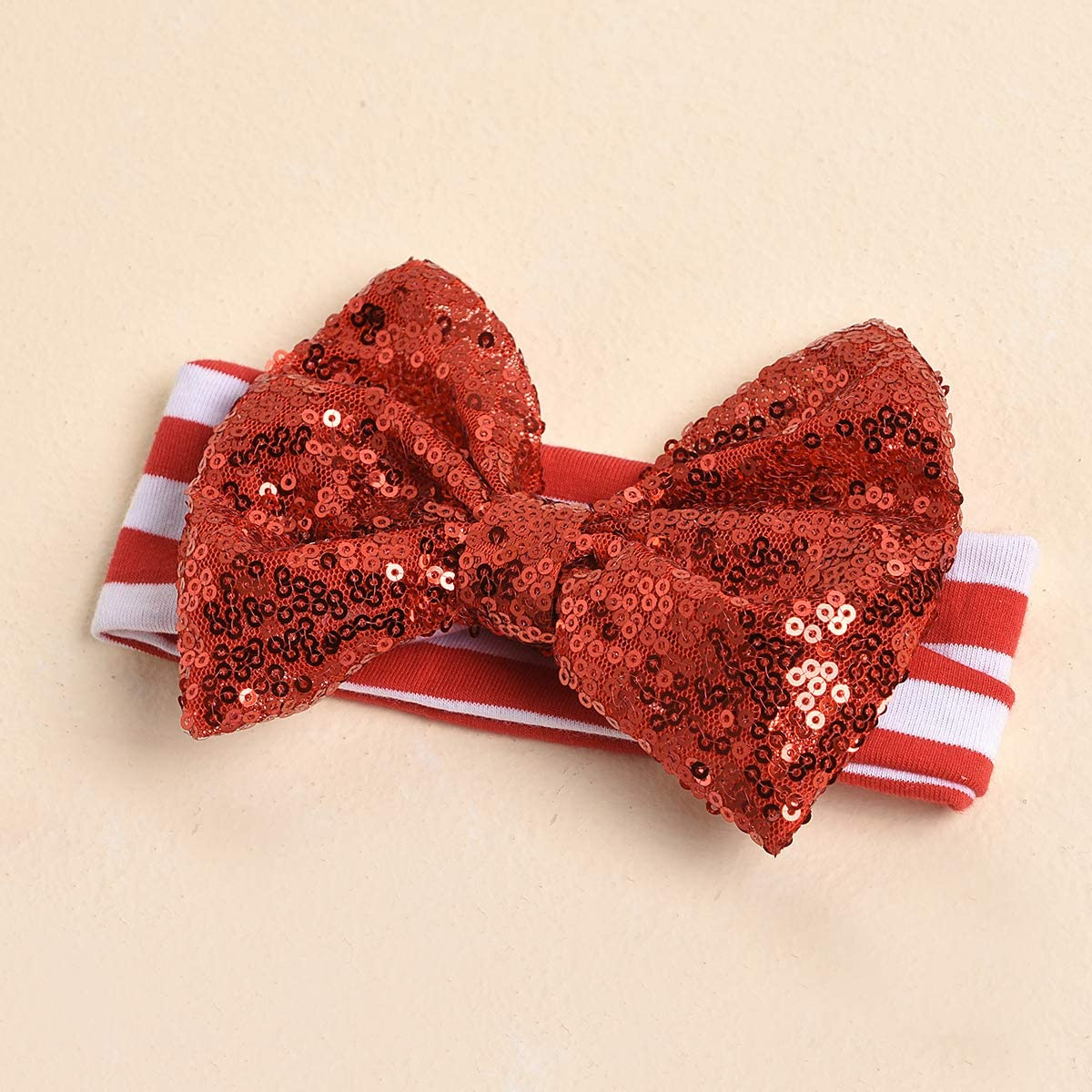 Sequin Bow Headband Toddler Clothing Red Skirt 3 PCs Christmas Baby Girls Outfits Long Sleeve Round Neck Letter Print First Christmas White Romper