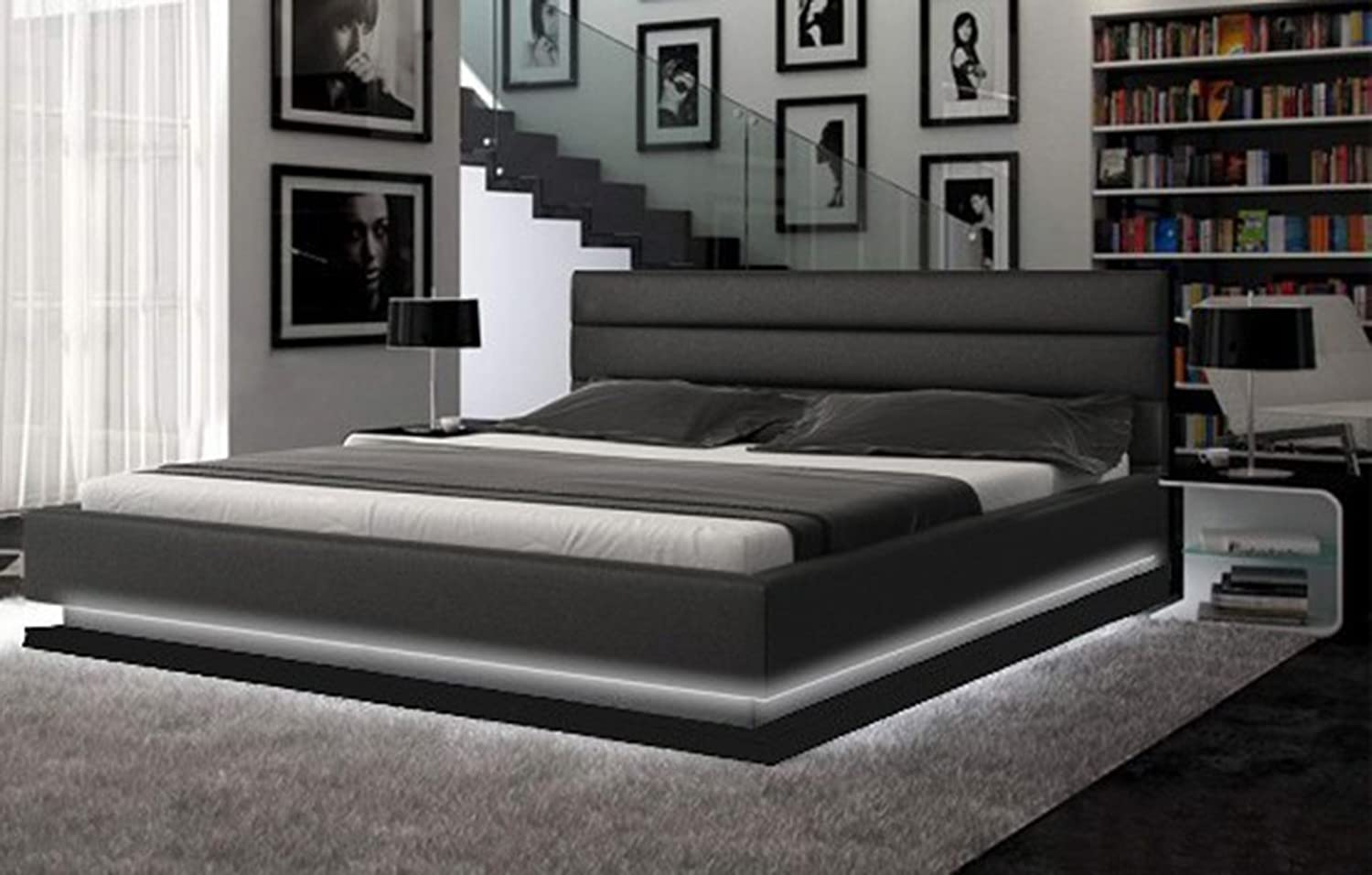 Amazon Com Modern Lines Bed With Led Lighting Queen Black