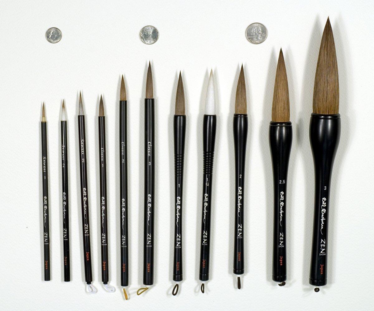 Bill Buchman ''Zen'' Sumi Brush 1G - Sumi Ink & Watercolour Paint Brush - Japan by Bill Buchman ''Zen'' Brushes and ''Zen'' Pens