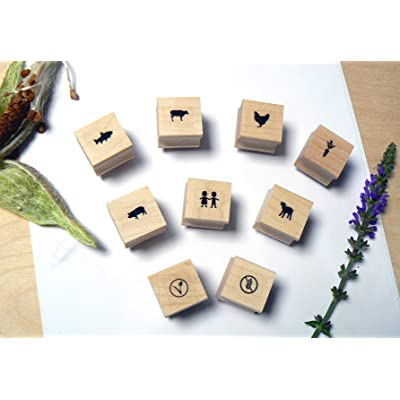 P120 Food Choice - Menu - Icons -Rubber Stamp Set- 9 Miniatures: Arts, Crafts & Sewing