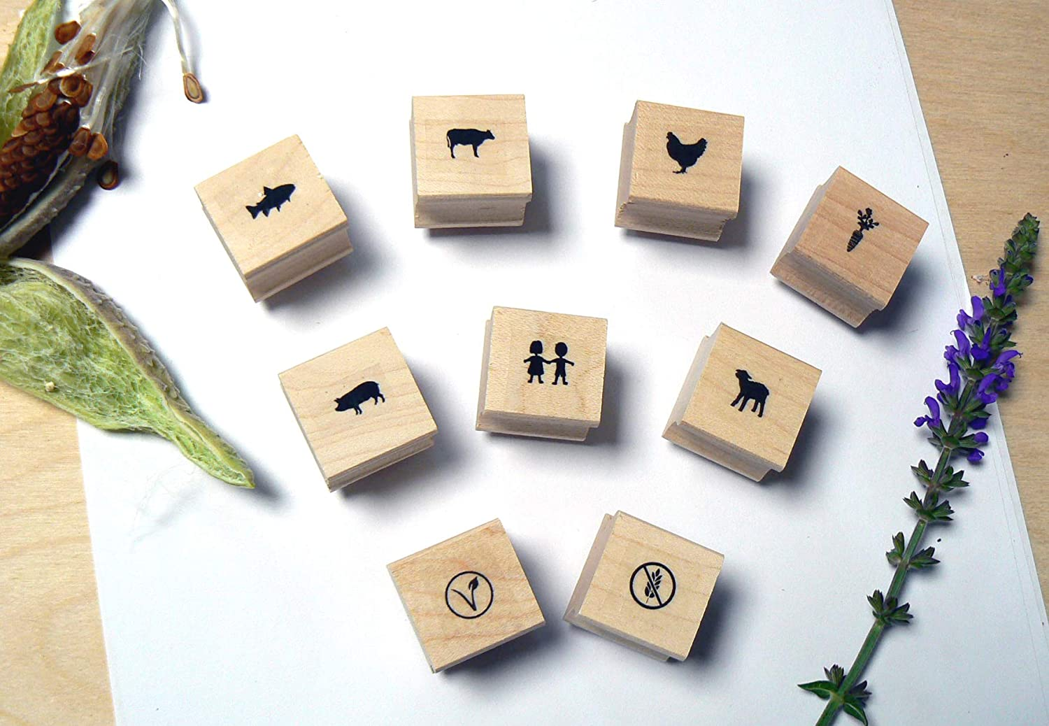 P120 Food Choice - Menu - Icons -Rubber Stamp Set- 9 Miniatures